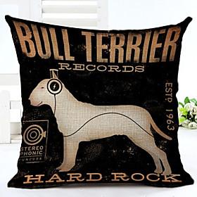 Novelty Dog Pattern Linen Pillowcase Sofa Home Decor Cushion Cover (1818inch) 4958866