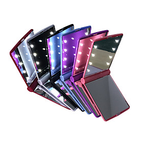 LED Mirrors Mini Portable Folding Compact Hand Cosmetic Make Up Pocket Mirror with 8 LED Light for Women Girls Lady 4977309