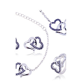 Women's Cubic Zirconia Jewelry Set - Zircon, Imitation Diamond Heart, Love Luxury Include Necklace / Bracelet Necklace / Earrings White / Purple / Blue For Wed