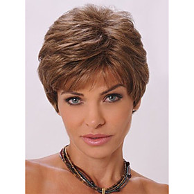 Short Wavy Elegant Trendy Bang Fluffy Synthetic Brown Capless Wig For Women 4708087