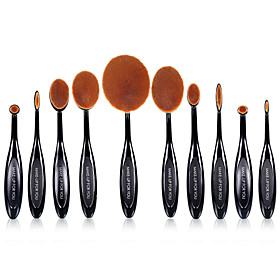10 PCS Oval Makeup Brushes Set Synthetic Hair Professional / Full Coverage Plastic Face / Eye / Lip MAKE-UP FOR YOU 4826596