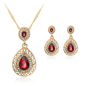 Women's Crystal Jewelry Set Crystal, Rhinestone, Rose Gold Plated Include Necklace / Earrings Red For Wedding Party Daily