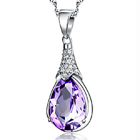 Women's Pendant Necklace - Sterling Silver, Silver Plated, Silver Birthstones Cute Purple Necklace Jewelry For Party, Daily, Casual