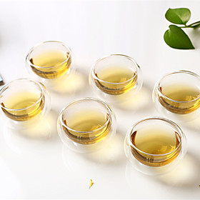 6 Pack High Temperature Resistant Glass Double-Layer Glass Tea Cup Kung Fu Tea Tea Cup Insulation 50ml 4968093