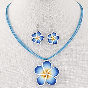 Women's Jewelry Set - Flower Vintage, Fashion, Elegant Include Drop Earrings Pendant Necklace Necklace / Earrings Red / Blue / Pink For Wedding Party Daily
