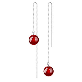 Women's Agate Drop Earrings Sterling Silver Earrings Jewelry Red For Wedding Party Daily Casual