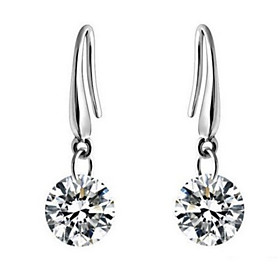 Women's Cubic Zirconia Drop Earrings - Zircon, Cubic Zirconia Elegant, Bridal Silver For Wedding Party Daily