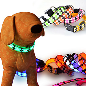 luminescent rhombus Pet collar flash light emitting Pet collar LED luminous dog...