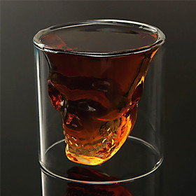 Heat Resistant Double Wall Transparent Creative Scary Skull Head Novelty Drinkware Whiskey Wine Vodka Shot Glass Cup 5005673