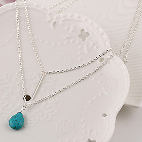 Women's Turquoise Layered Tassel Pendant Necklace / Layered Necklace - Turquoise Drop Tassel, Simple Style, Fashion Cute Silver Necklace Jewelry For Party, Dai