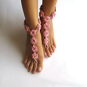 moda fiori all'uncinetto modello gioielli caviglia delle donne sandali a piedi nudi 5053287