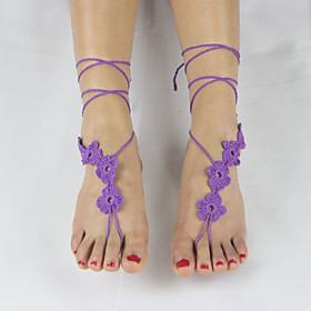 Women's Handmade Crochet Cotton Yoga Ankle Chain Anklet Five Flowers Barefoot Sandals 5053276