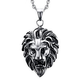 Men's Pendant Necklace Pendant Titanium Steel Lion Animal Ladies Personalized Punk Silver Necklace Jewelry For Party Daily Casual