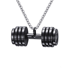 Men's Pendant Necklace / Pendant - Stainless Steel Dumbbell Fashion Gold, Black Necklace Jewelry For Daily, Casual