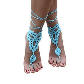 Women's Handmade Crochet Cotton Foot Anklet Bracelet Ankle Chain Beach Barefoot Sandals 5053288