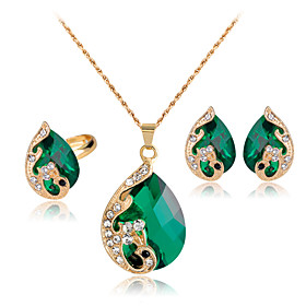 Women's Crystal Jewelry Set - Crystal, Rhinestone, Rose Gold Plated Peacock Party Include Red / Green / Blue Peacock For Party Daily / Rings / Earrings / Neckl
