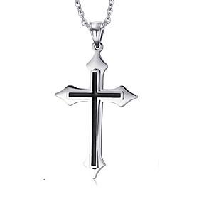 Men's Pendant Necklace Pendant Titanium Steel Cross Ladies European Cross Fashion Silver Necklace Jewelry For Daily Casual
