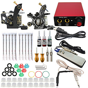 Professional Complete 2 Gun Tattoo Machine Kit 3PCS Ink Power Supply Needle Grips Tips 5002143