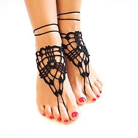 uncinetto moda sandali cotone fiori netti catena del calzino delle donne sandali a piedi nudi 5053318