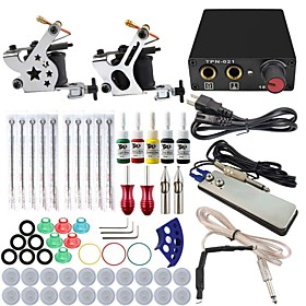 Professional Complete 2  Tattoo Machine Kit 5PCS Ink Power Supply Needle Grips Tips 5002171