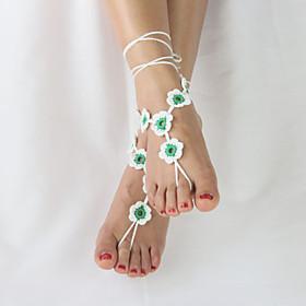 Women's Beach Wear Barefoot Flowers Crochet Sandals Ankle Bracelet Anklet  Barefoot Sandals 5053306