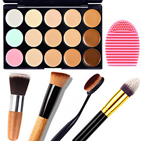 1PCS 15 Colors Camouflage Natural Contour Face Cream/Facial Concealer Makeup Palette1 Contour Brush1 Brush Egg 5015706