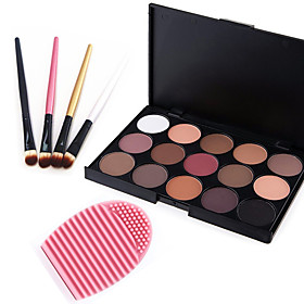 15 Colors 2in1 MatteShimmer Smoky Eyeshadow/Eyebrow Powder Cosmetic Palette4PCS Eyeshadow Brush1 Brush Egg 5037414