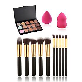 10pcs Makeup Brushes Set15 Colors Concealer PaletteMakeup Sponge Water Swellable 5029738