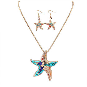 Women's Jewelry Set Leather, Resin Starfish Ladies, European, Fashion Include Necklace / Earrings Silver / Golden For Party Daily Casual Work