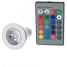 GU10 85V-265V 100-200Lm 3W Colorful RGB Remote Control LED RGB Spotlights Lights Cup Silver