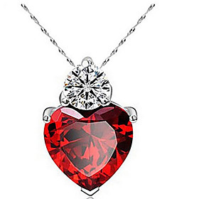 Women's Cubic Zirconia Pendant Necklace - Zircon, Cubic Zirconia Heart, Love Fashion Cute Purple, Watermelon Necklace Jewelry For Thank You, Daily, Casual