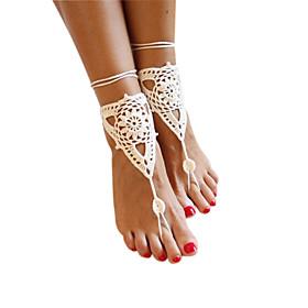 triangolo delle donne abbellito cotone crochet solido sandali a piedi nudi cavigliera 5053236