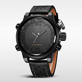WEIDE Men's Luxury Fashion Double Time Calendar Alarm LED LED Genuine Leather Waterproof Sport Watch 5032706