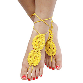 Women's Stylish Solid Crochet Cotton Barefoot Sandals Beach Anklet 5053235