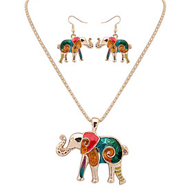 Women's Jewelry Set - Leather Elephant, Animal European, Fashion Include Necklace / Earrings Silver / Golden For Party Daily Casual