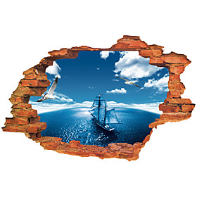 3D Wall Stickers Wall Decals Style Blue Sky Sea Sailing PVC Wall Stickers 5031041
