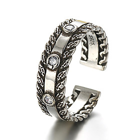Band Ring Adjustable Ring Sterling Silver Silver Ladies Vintage Punk Ring Jewelry Silver For Daily Casual Adjustable