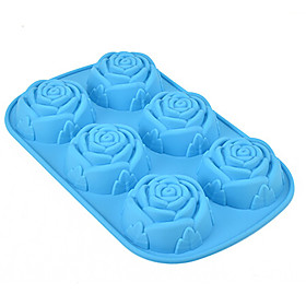 Rose Muffin Sweet Candy Jelly Silicone Fondant Cake Mold Baking Pan Tray Random Color 5026671