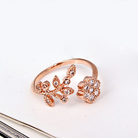 Women's Band Ring - Rhinestone, Imitation Diamond, Alloy Flower Luxury, Fashion, Open Adjustable Silver / Golden For Party Daily Casual