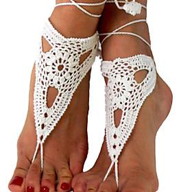 Women's Beach Wear Crochet Cotton Bracelet Net Ankle Chain  Barefoot Sandals 5053338