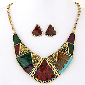 Women's Geometrical Jewelry Set Statement, Ladies, Vintage, European, Fashion, Color Block Include Necklace / Earrings Rainbow For Party Daily Casual