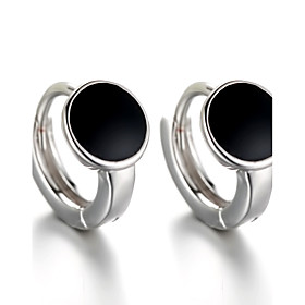 2016 Korean Women 925 Silver Sterling Silver Jewelry Black Acrylic Round Earrings Stud Earrings 1Pair 5065660