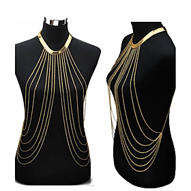 Tassel Belly Body Chain / Body Chain / Harness Necklace Gold Plated Ladies, Tassel, European, Bikini, Fashion Women's Golden Body Jewelry For Party / Daily / C