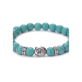 New Arrival Nature Turquoise Buddha Head Bead Bracelet #YMGS1013 5071407
