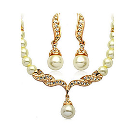 Women's Jewelry Set - Imitation Pearl Basic, Imitation Pearl, Bridal Include Golden For Wedding Party Daily / Earrings / Necklace