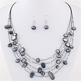 Women's Crystal Layered Jewelry Set - Crystal, Shell Statement, Bohemian, Basic Include Drop Earrings Necklace / Earrings Layered Necklace Blue / Rainbow / Lig