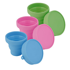 Portable Silicone Retractable Folding Water Cup Outdoor Travel Telescopic Collapsible Soft Drinking Cup(Random Color) 5078971