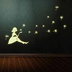 Luminous New Creative Dandelion Girl Luminous Wall Stickers DIY Living Room Bedroom Wall Decals 5084077