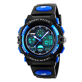 SKMEI Sport Watch Quartz 30 m Water Resistant / Water Proof Alarm Calendar / date / day PU Band Analog-Digital Fashion Black - Yellow Red Blue Two Years Batter