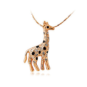 HKTC Women's Lovely Gift Jewelry18K Rose Gold Plated Alloy Decorated Giraffe Shape Pendant Design Necklace 5091709